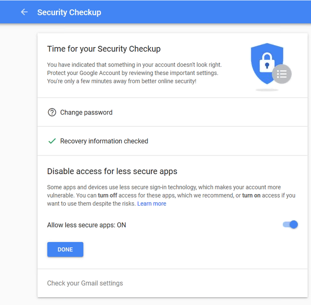 Google less secure apps screen