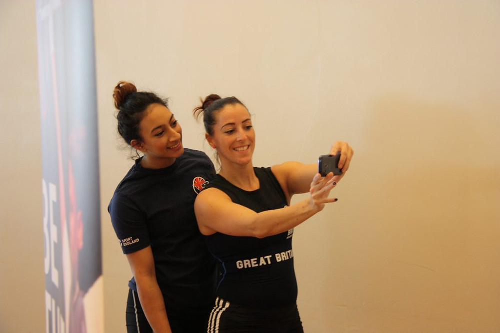 The Weightlifting team caught in a cheeky behind-the-scenes selfie