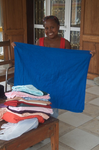 sorting second hand fabric, madagascar