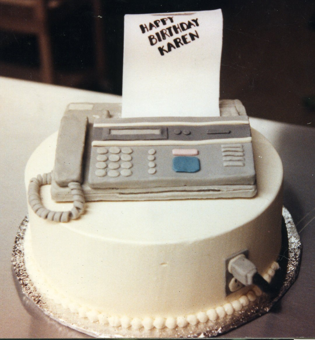 Fax machine birthday cake