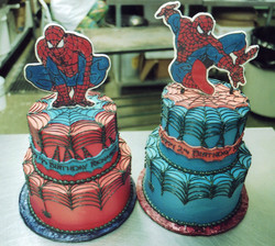 Double Spidey birthday cakes