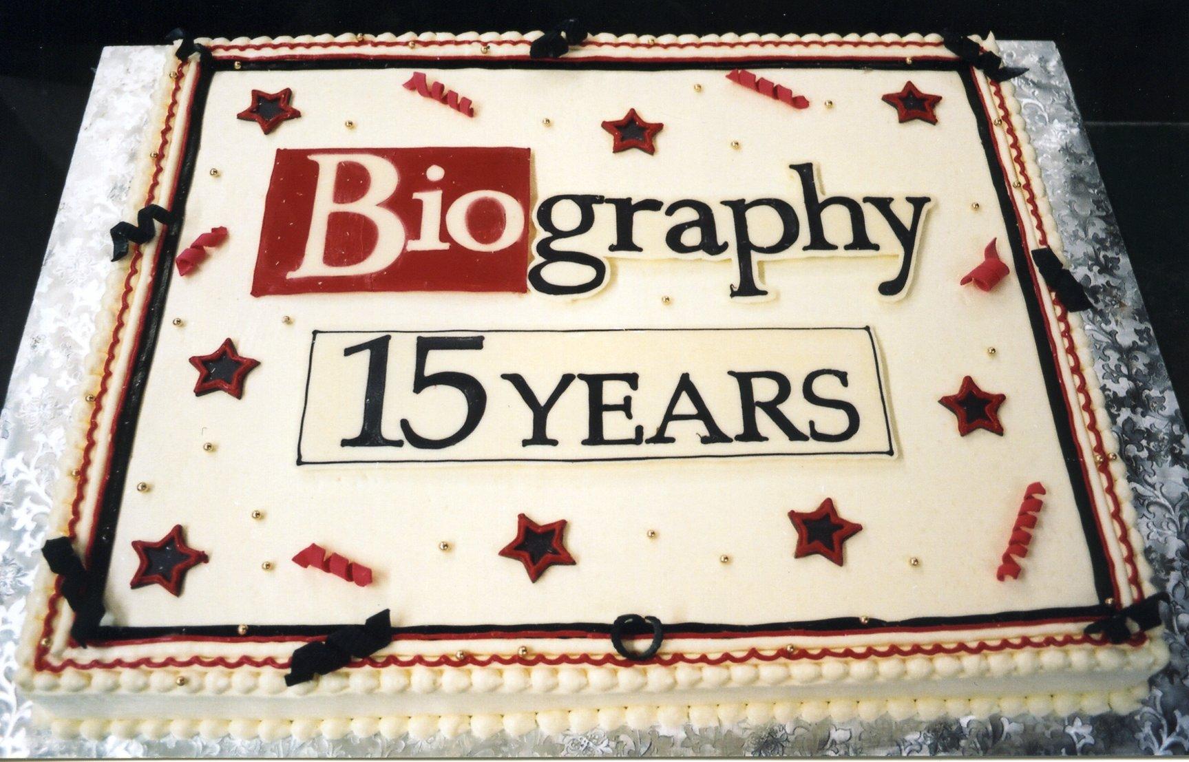 Biography anniversary cake