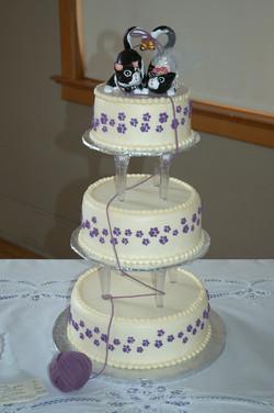 Kitty wedding cake (I made the topper too)