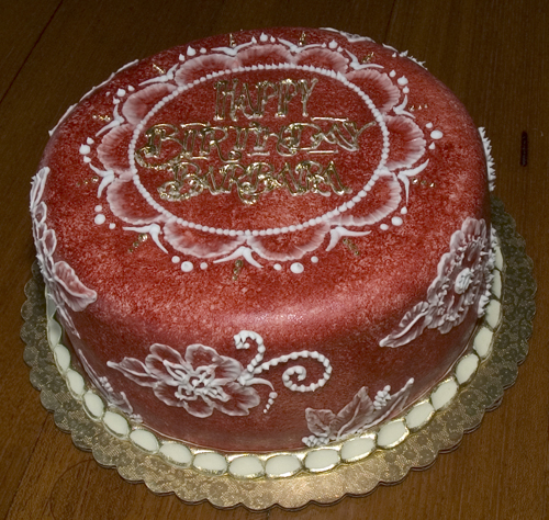 Brushed velvet birthday cake