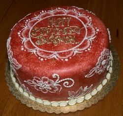 Brushed velvet birthday cake