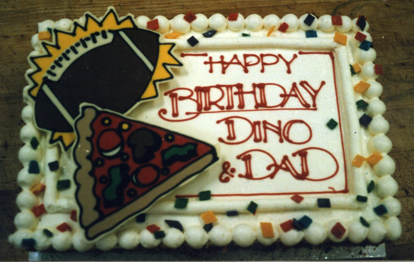 Football and pizza birthday cake