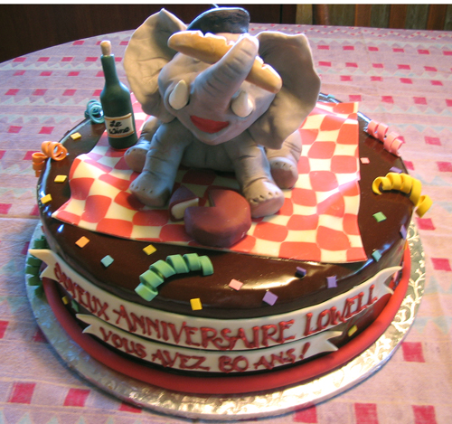 French Elephant birthday cake