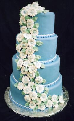 Blue Daisies wedding cake