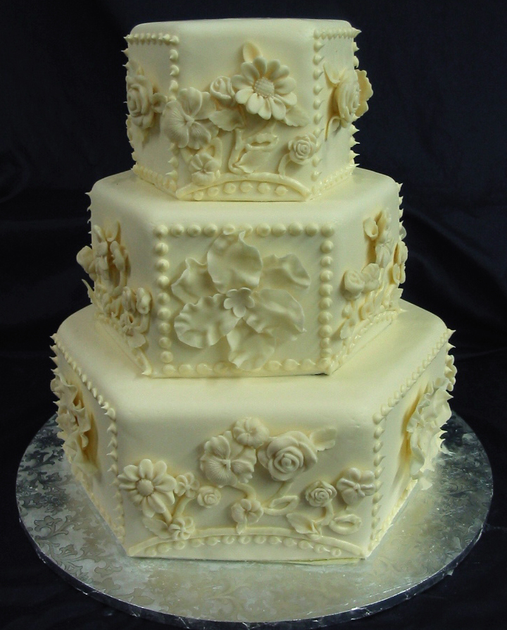 Ivory Flower Panel wedding cake