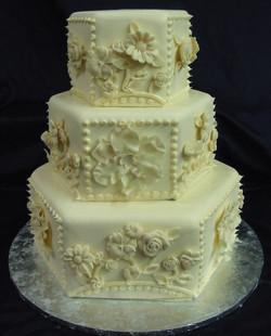 Ivory Flower Panel wedding cake