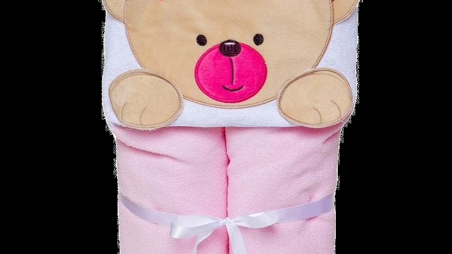 Toalha de banho felpuda bichinhos papi forrada c/ capuz bordado urso rosa