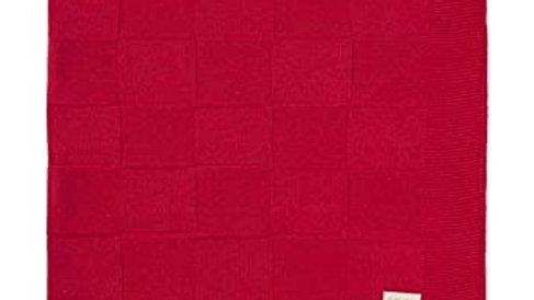 Manta Tricot Luxo Quadradinhos Vermelho Din Don