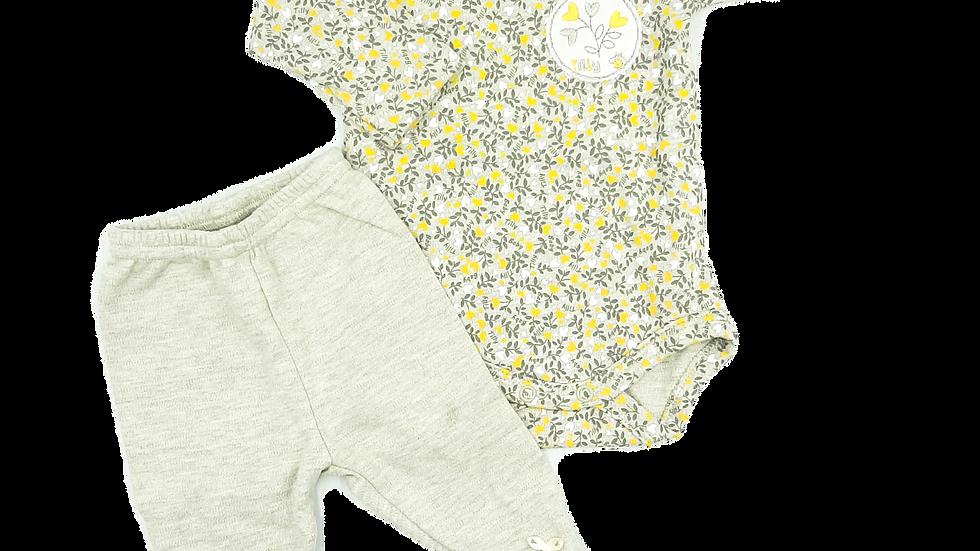Conjunto body e calça suedine raminhos Tilly Baby