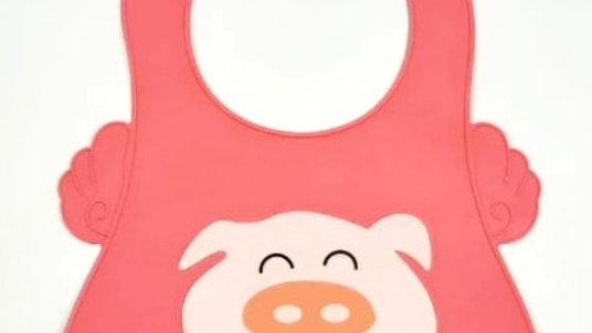 Babador de silicone porquinho pink