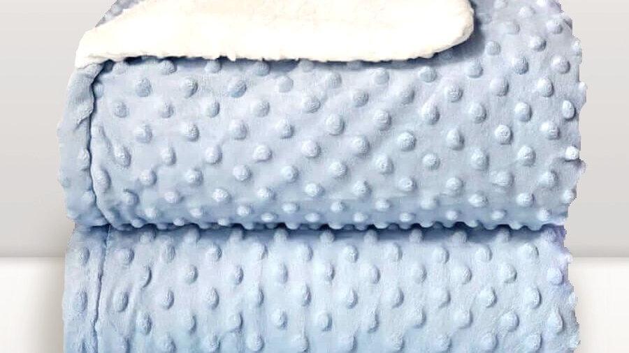 Cobertor infantil Sherpam Dots azul Laço Bebê