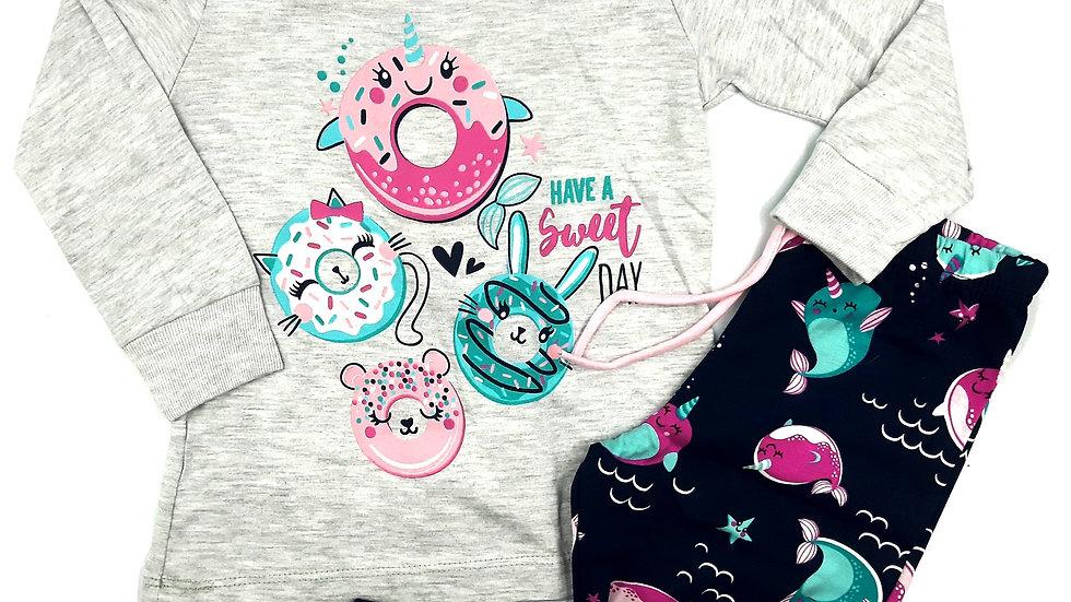 Pijama cinza/marinho Malwee