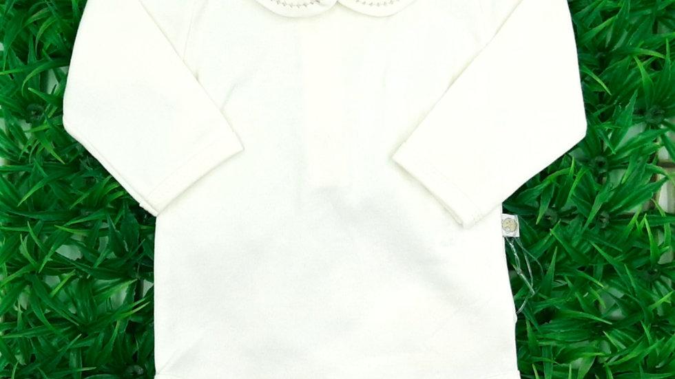 Body manga longa branco gola bordada Beth Bebê