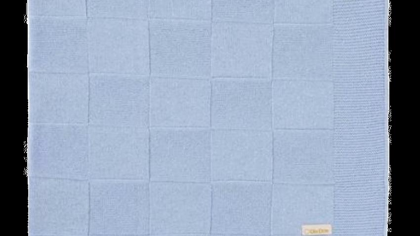 Manta Tricot Luxo Quadradinhos Azul - Din Don