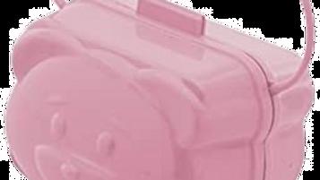 Porta Chupeta Adoleta Urso Rosa Bebê com alça
