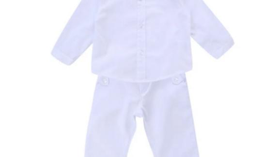 Conjunto Batizado Din Don Com 02 Peças + Camisa Bordado Brasão