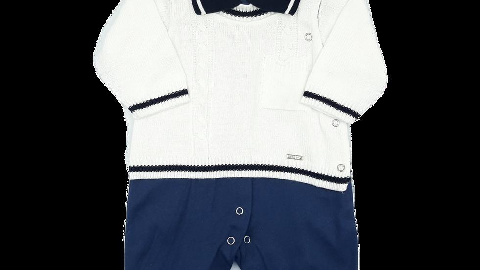 Macacão tricot off white Antônio Beth Bebê