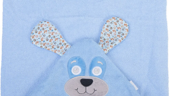 Toalhão com Capuz de Centro Bordado Baby Joy Premium - Cachorro