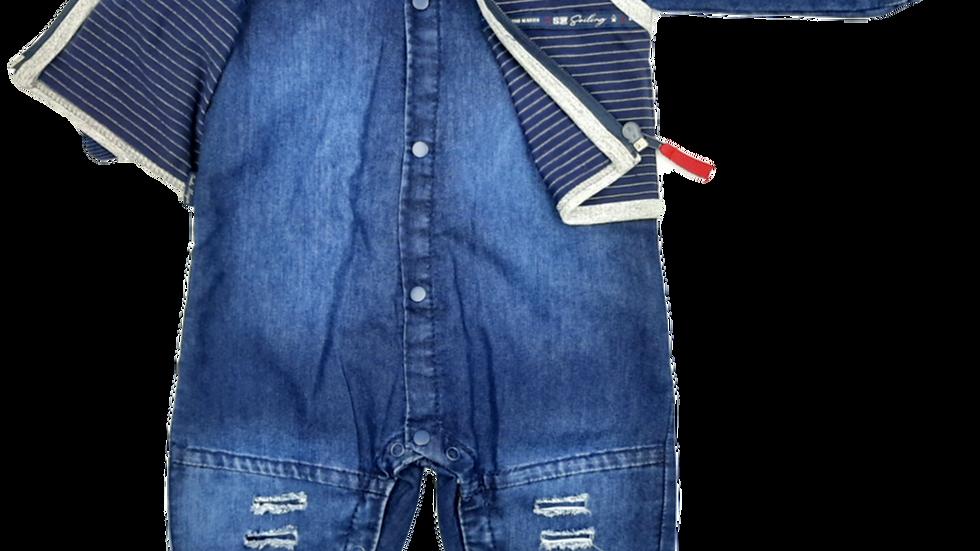 Macacão longo malha jeans sailing Sonho Mágico