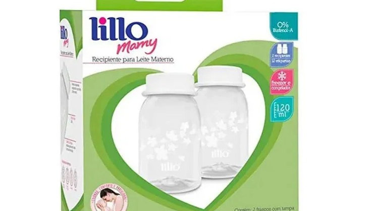 Kit 2 Recipiente Para Leite Materno Lillo 120ml Livre Bpa