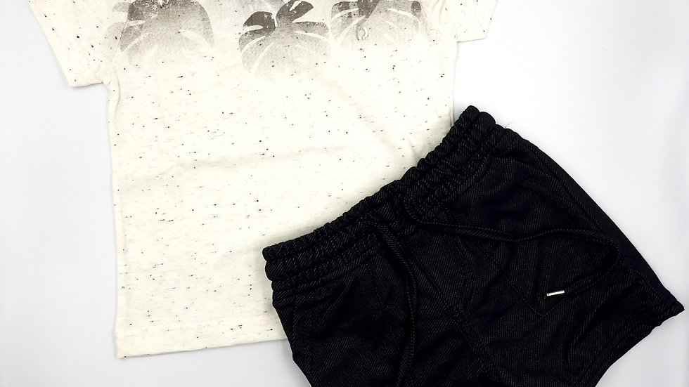 Camiseta Mc e Bermuda  Off-white Lucboo