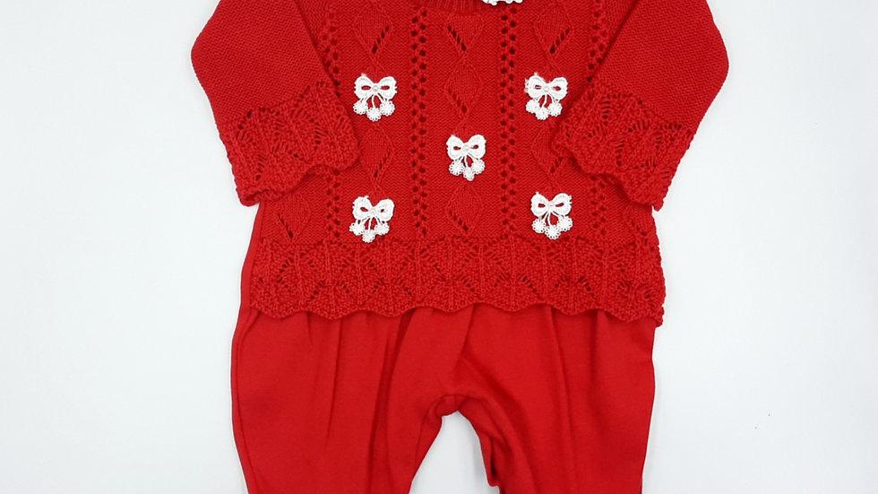 Macacão tricot vermelho Ana Júlia Beth Bebê
