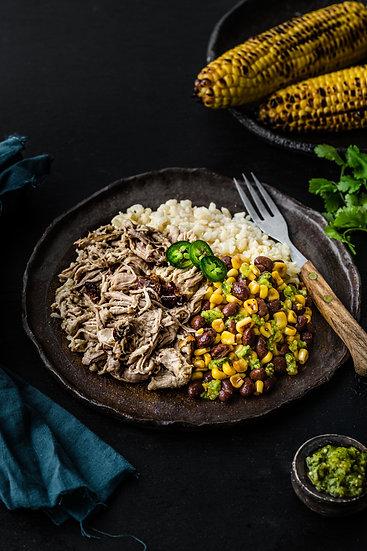 Pulled Pork, Jalapeño Corn & Bean Salsa and Brown Rice