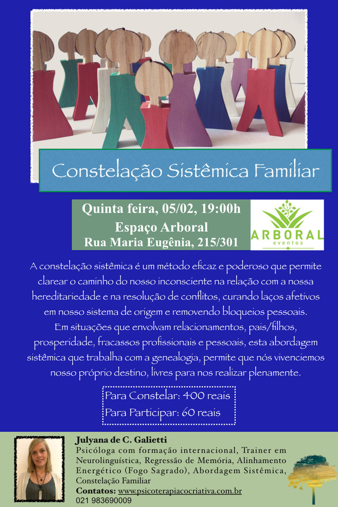Constelação Sistêmica Familiar esta quinta, 05/02/15, as 19h no Espaço Arboral!
