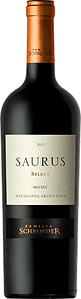 Bottle of wine, saurus select malbec schroeder winery
