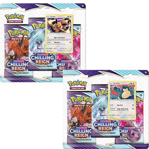 Pokemon TCG: Chilling Reign 3-Pack Booster Blister (Snorlax/Eevee
