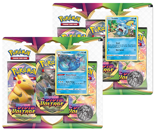 Vivid voltage 3-pack blister (Vaporeon/Sobble)