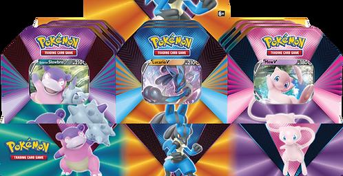 Pokémon TCG: V Forces Tin - Lucario V, Galarian Slowbro V or Mew V