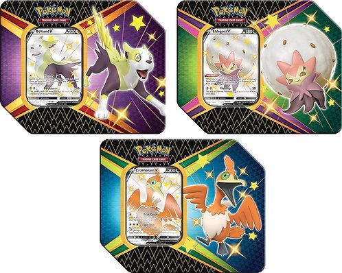 Pokémon TCG: Shining Fates Tin - Eldegoss V, Boltund V or Cramorant V