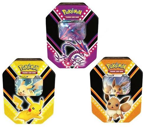 V power tin Eevee/Pikachu/Eternatus