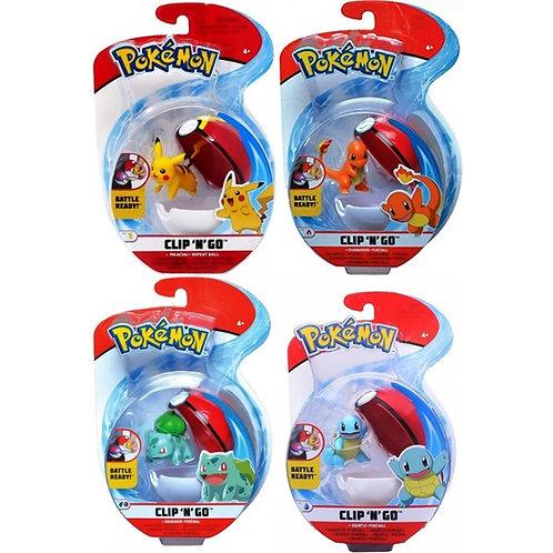Pokemon Clip 'N' Go Poke Ball Assortment Pikachu,Charmander,Squirtle,Bulbasaur