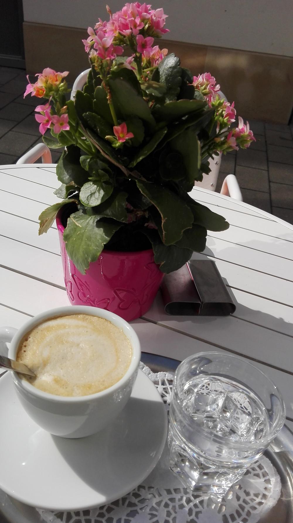 Einen leckeren Cappuccino bekommst du im EMILY´S FROZEN YOGHURT um günstige 1,80 Euro. Und du sitzt zur Mittagszeit im windgeschützten und sonnigen Innenhof