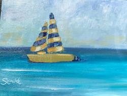 yellowbluestripesailboatkauai