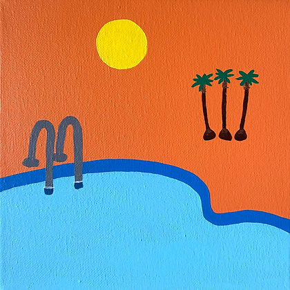 PALM TREES + POOLS painting