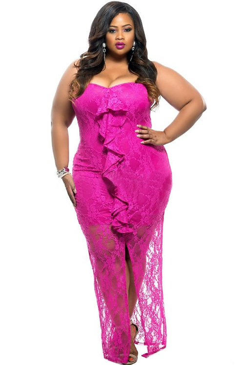 Rosy Ruffle Detail Strapless Curvy Lace Dress