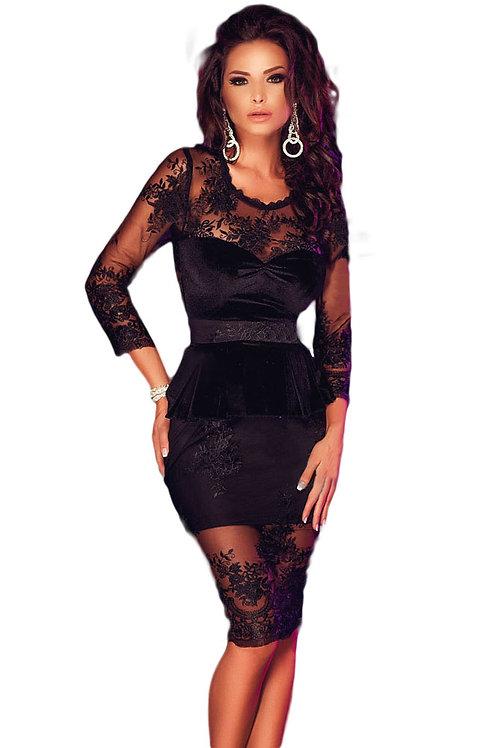 Black Lace Mesh Insert Sleeved Peplum Dress