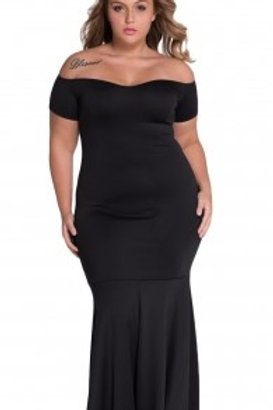 Black  Off Shoulder Fishtail Maxi Dress