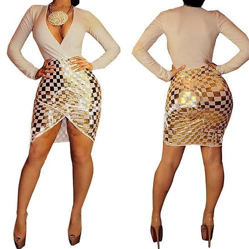 Sequin Plaid Sexy Plus Size Bodycon Dress