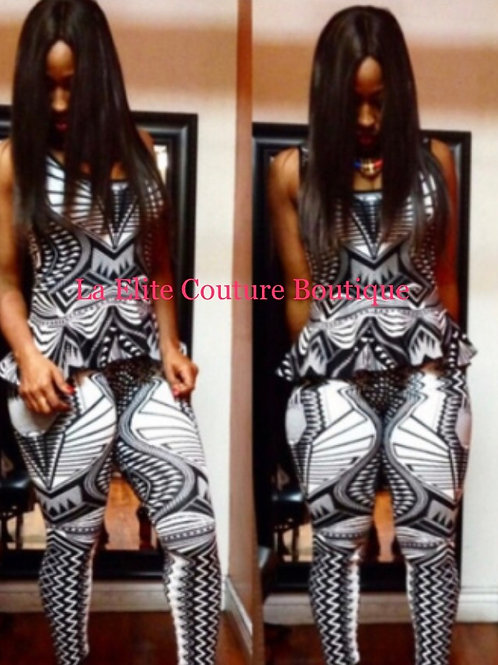Sexy Two piece crop top pant set