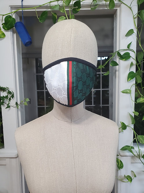 Face Mask GG inspire design Green/white black trim red/green ribbon