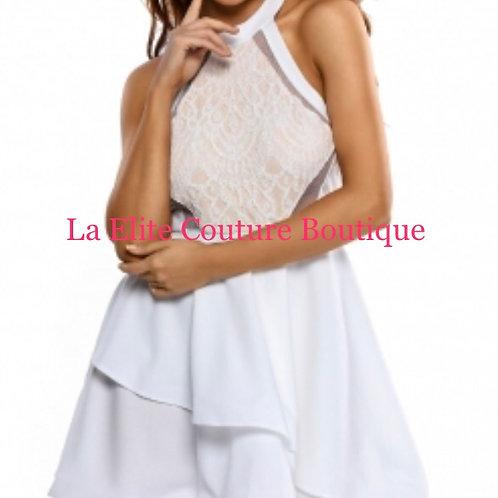 White Lace Nude Irregular Layered