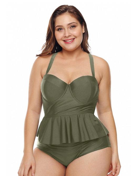 Two piece green curvy swimwear